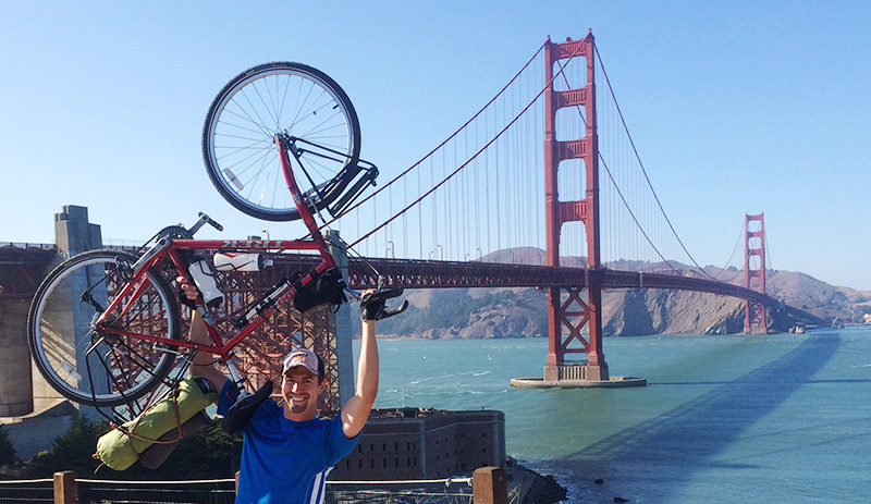 John Jurko II after crossing the Golden Gate Bridge